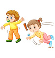 Toddler falling down on the ground vector image vector image