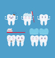 tooth health icon set funny cartoon teeth set vector image