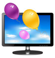 tv monitor with balloons vector image