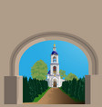 view arched doorway to orthodox church vector image