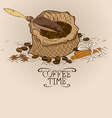 with bag of coffee and scoop vector image vector image