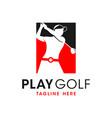 women golf sport inspiration logo design vector image