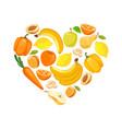 yellow and orange fruits and vegetables vector image