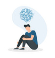 young man in depressive state mind person vector image
