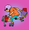 active old lady with shopping vector image