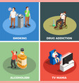 addictions isometric design concept vector image vector image