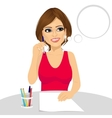 attractive woman thinking concept holding a pencil vector image vector image