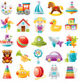 Baby toys icon set palette train yaht horse vector image vector image