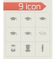 black academic cap icon set vector image vector image