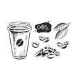 black and white set coffee paper vector image