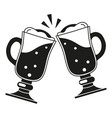black and white two fancy beer glass silhouette vector image