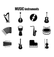 Black Music Instrument Icons on White Background vector image