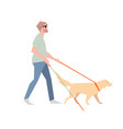 blind with a stick blind man walks beside the vector image