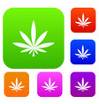 cannabis leaf set collection vector image vector image