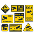 cctv sign security camera stickers vector image vector image