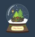 christmas snow globe with christmas tree and vector image vector image