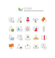 collection linear icons fashion industry vector image