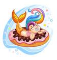 cute kawaii mermaid lying on a donut vector image