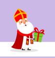 cute saint nicholas bring presents to children vector image vector image