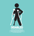 Disabled Person With Crutch Black Symbol Il vector image vector image