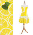 Dress with lemon pattern vector image vector image