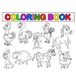 Farm animal coloring book vector image vector image