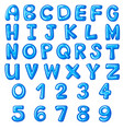 font design for english alphabets and numbers vector image