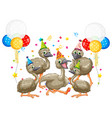 goose group in party theme cartoon character vector image vector image