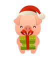 happy cute cartoon pig with gift present vector image vector image