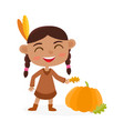 happy thanksgiving day greeting card with indian vector image vector image