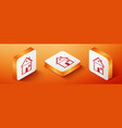 isometric house icon isolated on orange background vector image vector image