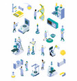 isometric science laboratory color icon set vector image