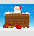 large wooden sign with santa vector image vector image