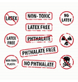 Latex and Phthalate free stamps set vector image