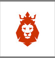 lion head logo with crown king vector image vector image