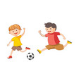 little cheerful boys plays football isolated vector image vector image