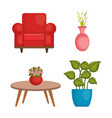 living room set icons vector image