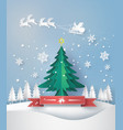 merry christmas greeting card with origami made vector image vector image