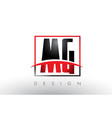 mg m g logo letters with red and black colors and vector image vector image