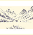 mountains panorama and alpine pine forest vector image