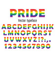 Multicolored celebrate pride typeface abc
