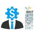 Office Bank Worker Icon With 2017 Year Bonus vector image