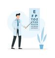 ophthalmologist doctor near eye chart flat design vector image