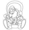 outlined santa with kids vector image vector image