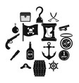 pirate icons set simple style vector image vector image