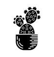 prickly pear cactus in pot glyph icon vector image vector image