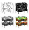 raw food lying on rack shelves icon in cartoon vector image vector image