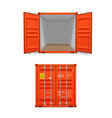 realistic set bright red cargo containers vector image vector image