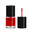 red nail polish in round glass bottle with black vector image vector image