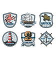 sea adventure vintage label for nautical heraldry vector image vector image